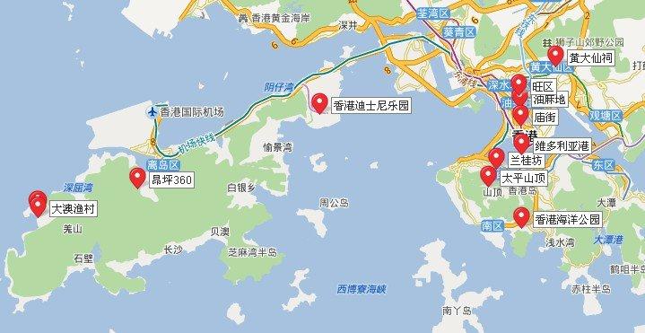 香港景点地图